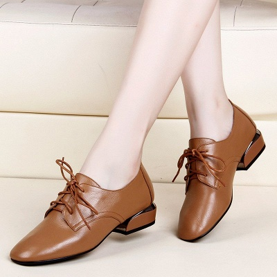 Chunky Heel Lace-up Pointed Toe Oxfords_2