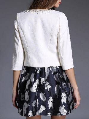 White Beaded 3/4 Sleeve Summer Solid Coat_3