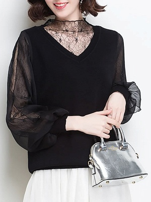 Shift Balloon Sleeve Guipure lace Casual Sweater_8