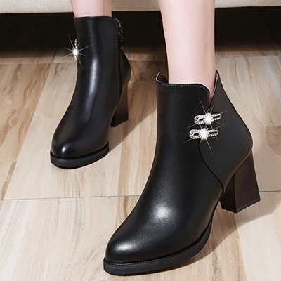 Chunky Heel Rhinestone Daily Pointed Toe Zipper Elegant Boots_4