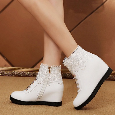 Zipper Daily Wedge Heel Round Toe Elegant Boots_5