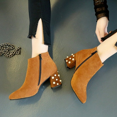 Suede Winter Chunky Heel Beading Pointed Toe Boot_2