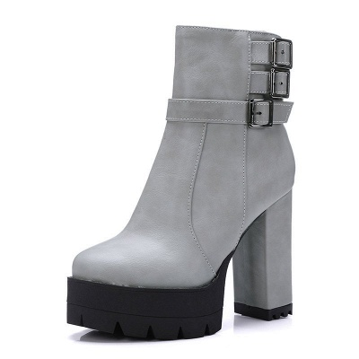 Daily Chunky Heel Zipper Round Toe Buckle Boots_13