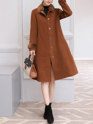 Casual Buttoned Long Sleeve Shirt Collar A-line Pockets Fluffy  Coat_8