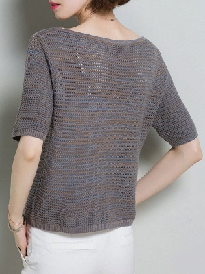 Casual Solid Crew Neck Half Sleeve Ice Yarn Knitted Sweater_11