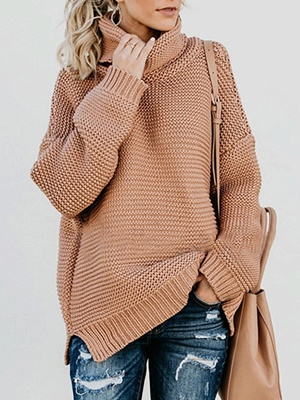 Knitted Casual Shift Long Sleeve Sweater_3