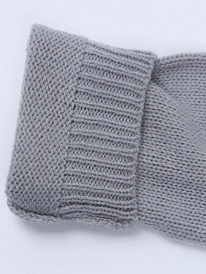 Gray H-line Long Sleeve Knitted Sweater_13