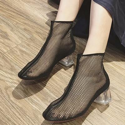 Zipper Daily Mesh Chunky Heel Boots_4