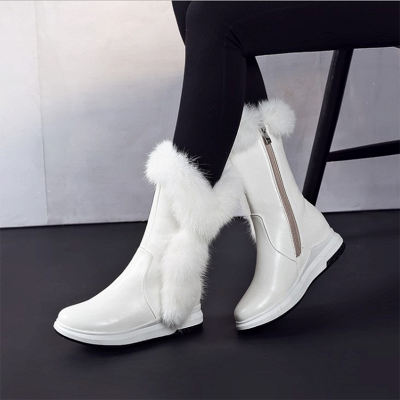 Wedge Heel Daily Zipper Round Toe Boots_1