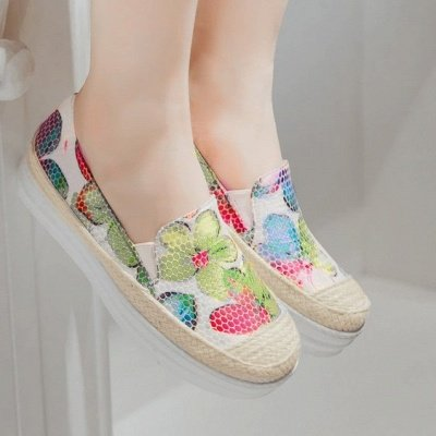 Floral Print Daily Round Toe Wedge Loafers_1