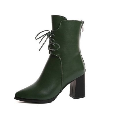 Lace-up Chunky Heel Daily Pointed Toe Elegant Boots_8