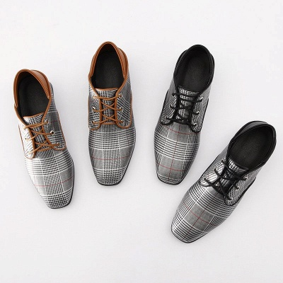 Checkered Lace-up Daily Square Toe Oxfords_4