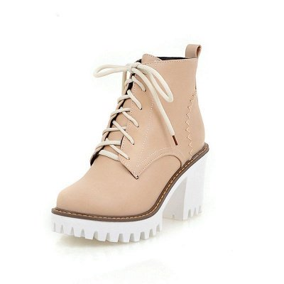 PU Lace-up Daily Round Toe Chunky Heel Boot_9