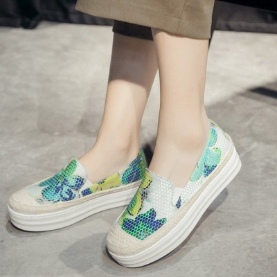 Floral Print Daily Round Toe Wedge Loafers_3
