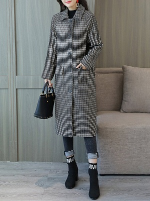 Black Houndstooth Casual Coat_4