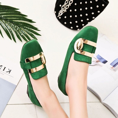 Daily Chunky Heel Suede Square Toe Loafers_9