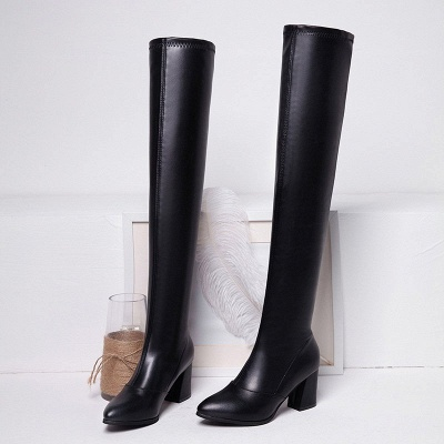 Black Winter Chunky Heel Daily Pointed Toe PU Boot_6