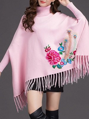 Batwing Elegant Floral Shift Sweaters_1