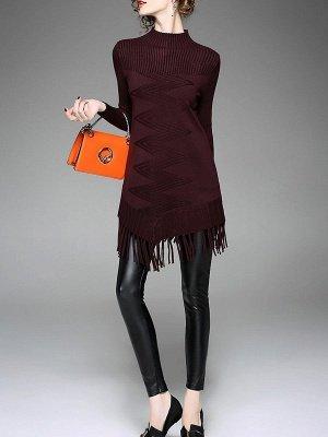 Burgundy Geometric Sheath Casual Sweater_4