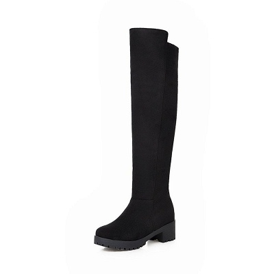 Suede Daily Chunky Heel Round Toe Boot_12