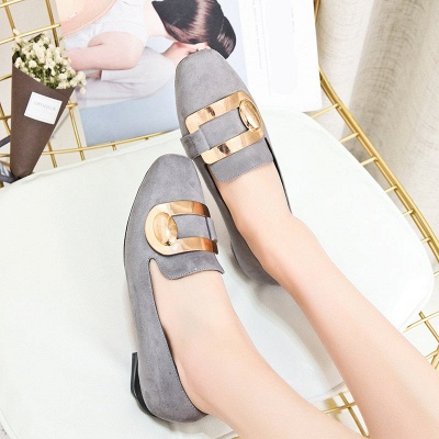Daily Chunky Heel Suede Square Toe Loafers_2