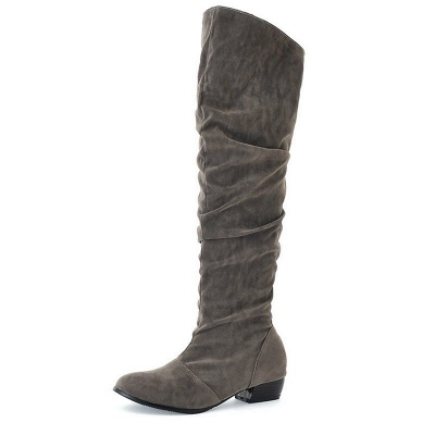 Chunky Heel Suede Fall Pointed Toe Boots_4