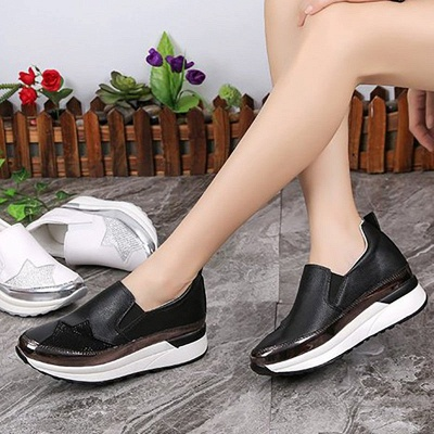 Daily Round Toe Wedge Heel PU Loafers_6