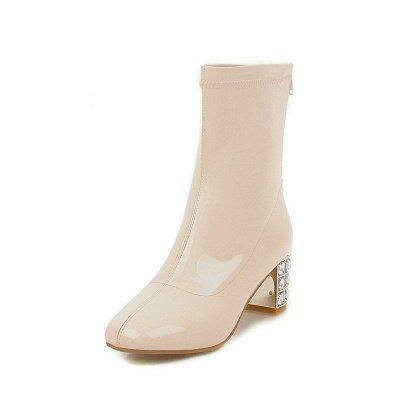 Chunky Heel Zipper Elegant Square Toe Boots_2