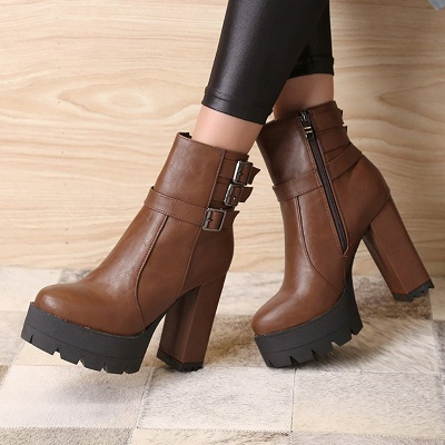 Daily Chunky Heel Zipper Round Toe Buckle Boots_2