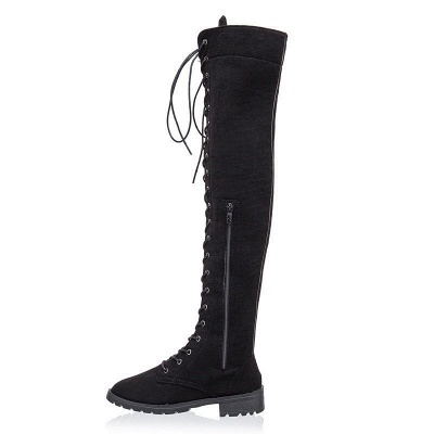 Lace-up Daily Chunky Heel Suede Fall Round Toe Boot_10