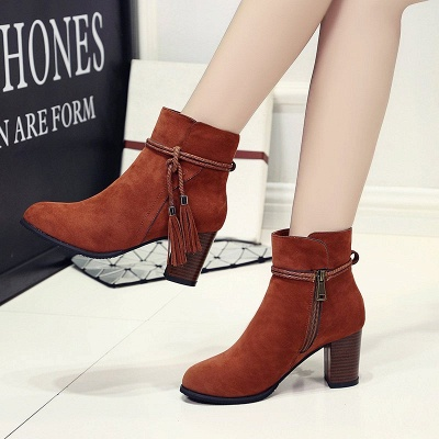 Chunky Heel Daily Tassel Zipper Elegant Boots_1