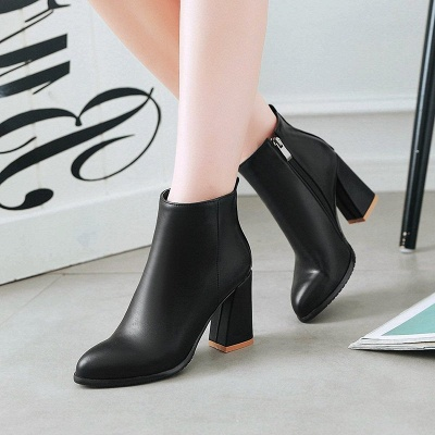 Chunky Heel Zipper Daily Pointed Toe Elegant Boots_5