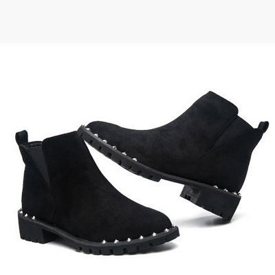 Gray Daily Rivet Pointed Toe Chunky Heel Boots_2