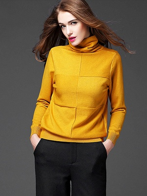 Paneled Solid Long Sleeve Casual Sweater_5