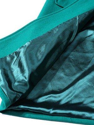 Green Casual V neck Shift Coat_5