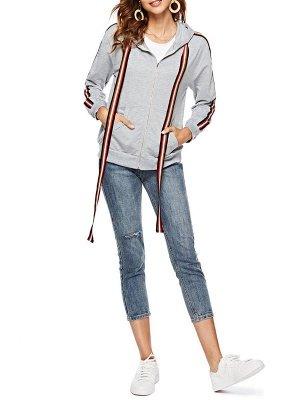 Gray Shift Hoodie Pockets Casual Zipper Paneled Coat_4