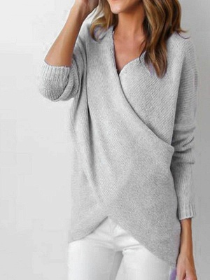 Gray H-line Long Sleeve Knitted Sweater_3