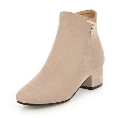 Zipper Chunky Heel Suede Boots_8