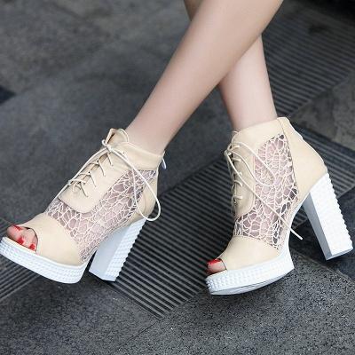 Chunky Heel Lace-up Peep Toe Elegant Boots_2