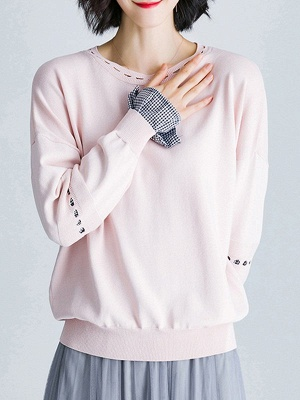 Paneled Casual H-line Knitted Sweater_1