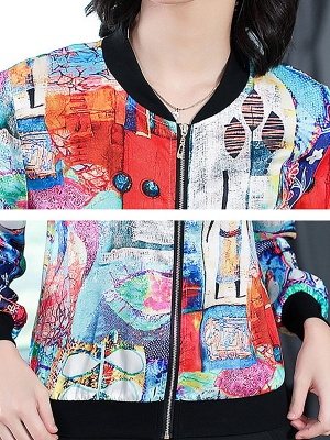 White Long Sleeve Casual Printed Abstract Crew Neck Coat_6