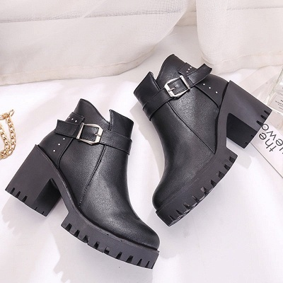 Zipper Daily Round Toe Buckle Chunky Heel Boots_7