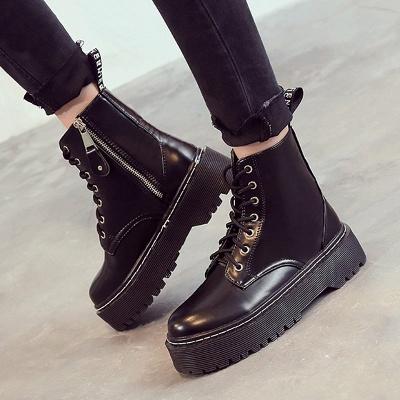 Platform Lace-up Round Toe Boots_5