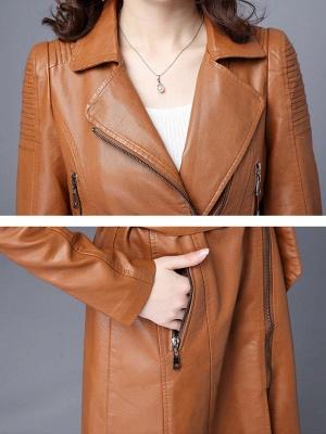 Solid Shift Long Sleeve Pleated Pockets Zipper Lapel Coat_8