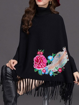Batwing Elegant Floral Shift Sweaters_6