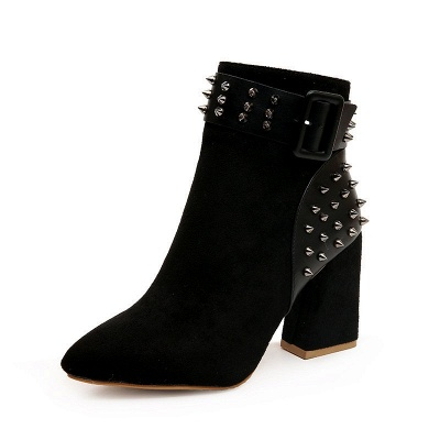 Suede Chunky Heel Daily Lace-up Rivet Boots_6