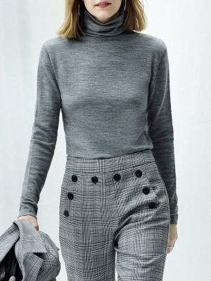 Turtleneck Long Sleeve Casual Knit Top_4