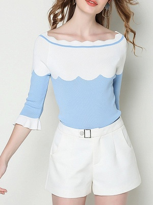 Blue Casual Sheath Frill Sleeve Sweater_4