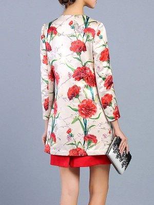 Buttoned Long Sleeve Floral Work Elegant Coat_4