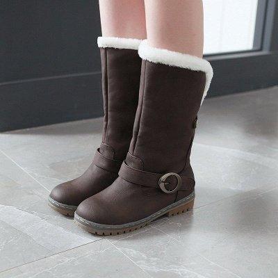 Women's Boots Round Toe Black Low Heel Boots_1